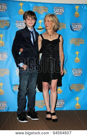 LOS ANGELES - JUN 25:  Ty Simpkins, Lin Shaye at the 41st Annual Saturn Awards Press Room at the The Castaways on June 25, 2015 in Burbank, CA
