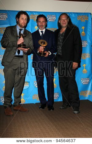 LOS ANGELES - JUN 25:  Scott Gimple, Andrew Lincoln, Gregory Nicotero at the 41st Annual Saturn Awards Press Room at the The Castaways on June 25, 2015 in Burbank, CA