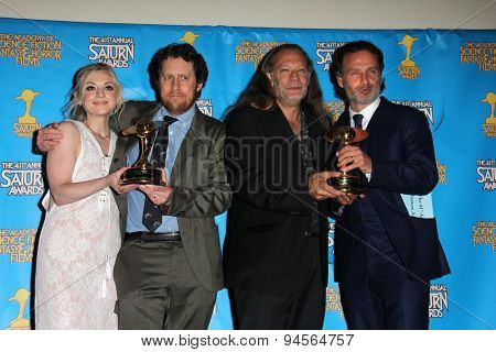 LOS ANGELES - JUN 25:  Emily Kinney, Scott Gimple, Andrew Lincoln, Gregory Nicotero at the 41st Annual Saturn Awards Press Room at the The Castaways on June 25, 2015 in Burbank, CA