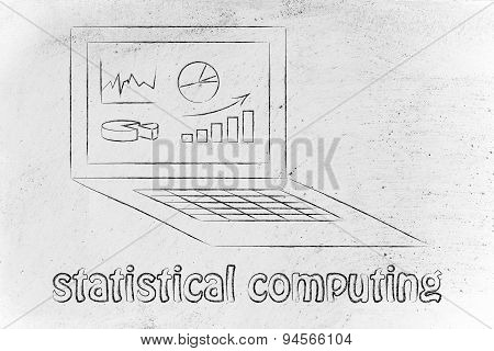 Computer With Graphs And Stats For Statistical Computing