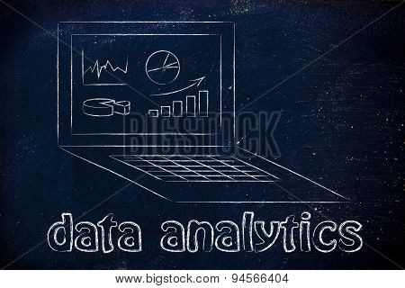 Computer With Graphs And Stats For Data Analytics