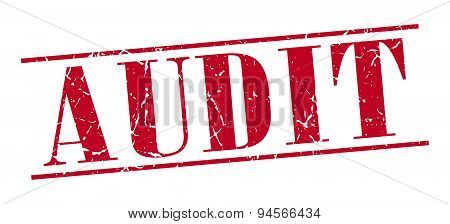 Audit Red Grunge Vintage Stamp Isolated On White Background
