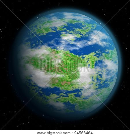 Illustration Of Fantasy Earth Like Planet