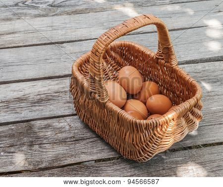 Brown Eggs In The Basket