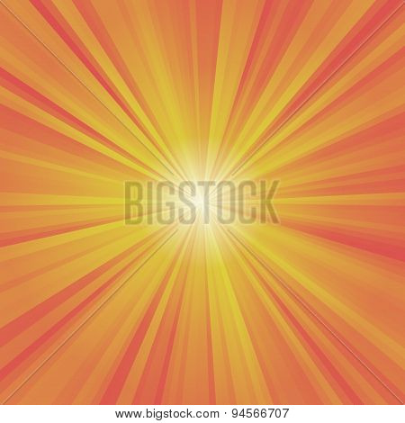 Illustration Of Colorful Rays (yellow, Orange, Red) With White Burst