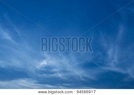 Sligtly Clouds Floating On The Clear Blue Sky