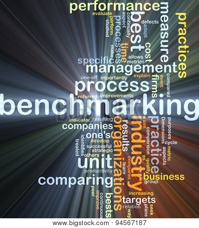 Background concept wordcloud illustration of benchmarking glowing light