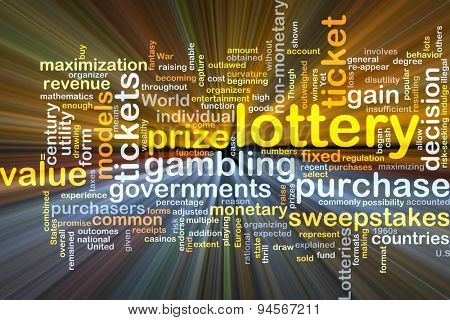 Background concept wordcloud illustration of lottery glowing light