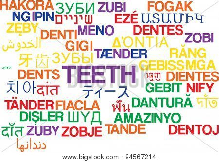 Background concept wordcloud multilanguage international many language illustration of teeth