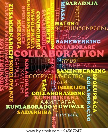 Background concept wordcloud multilanguage international many language illustration of collaboration glowing light
