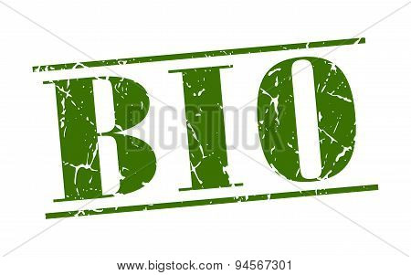 Bio Green Grunge Vintage Stamp Isolated On White Background