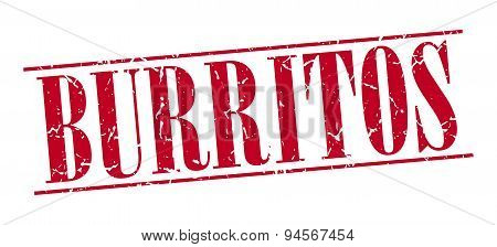 Burritos Red Grunge Vintage Stamp Isolated On White Background