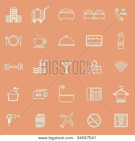 Hotel Line Icons On Orange Background