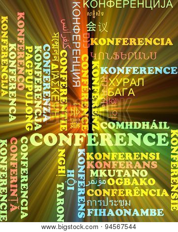 Background concept wordcloud multilanguage international many language illustration of conference glowing light
