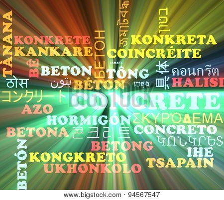 Background concept wordcloud multilanguage international many language illustration of concrete glowing light