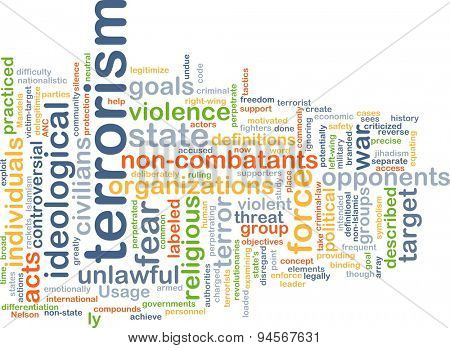 Background concept wordcloud illustration of terrorism