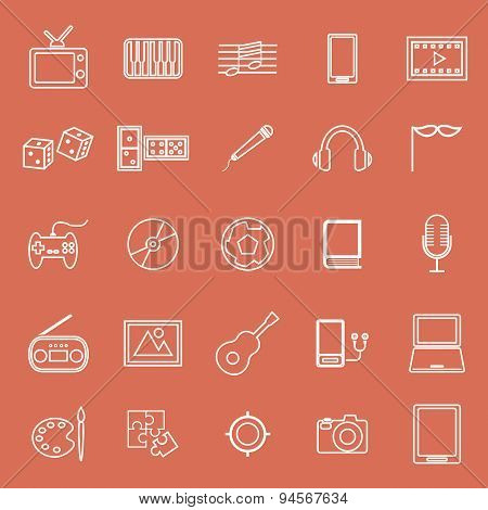 Entertainment Line Icons On Orange Background