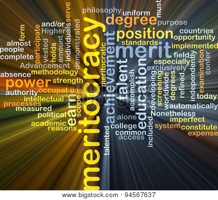 Background concept wordcloud illustration of meritocracy glowing light