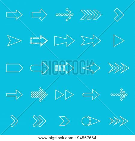 Arrow Line Icons On Blue Background
