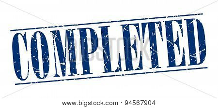 Completed Blue Grunge Vintage Stamp Isolated On White Background