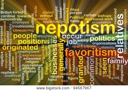 Background concept wordcloud illustration of nepotism glowing light