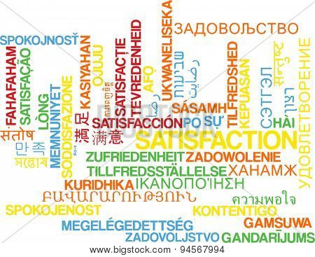 Background concept wordcloud multilanguage international many language illustration of satisfaction