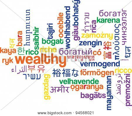 Background concept wordcloud multilanguage international many language illustration of wealthy