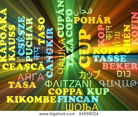 Background concept wordcloud multilanguage international many language illustration of cup glowing light