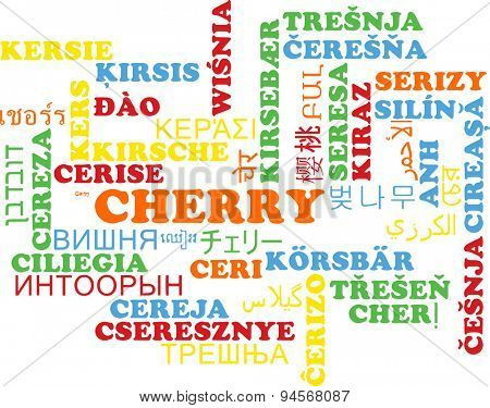 Background concept wordcloud multilanguage international many language illustration of cherry