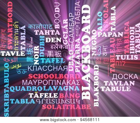 Background concept wordcloud multilanguage international many language illustration of blackboard glowing light