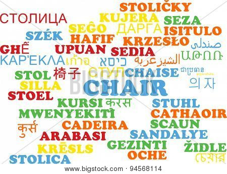 Background concept wordcloud multilanguage international many language illustration of chair