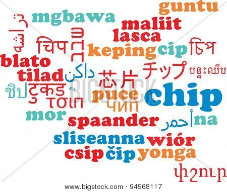 Background concept wordcloud multilanguage international many language illustration of chip