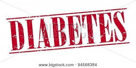Diabetes Red Grunge Vintage Stamp Isolated On White Background