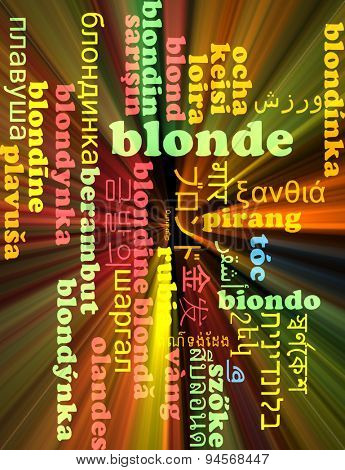 Background concept wordcloud multilanguage international many language illustration of blonde glowing light