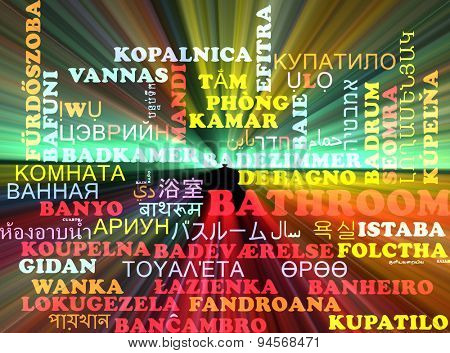 Background concept wordcloud multilanguage international many language illustration of bathroom glowing light