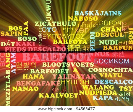 Background concept wordcloud multilanguage international many language illustration of barefoot glowing light