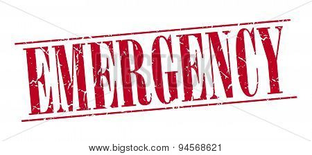 Emergency Red Grunge Vintage Stamp Isolated On White Background