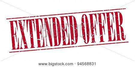 Extended Offer Red Grunge Vintage Stamp Isolated On White Background