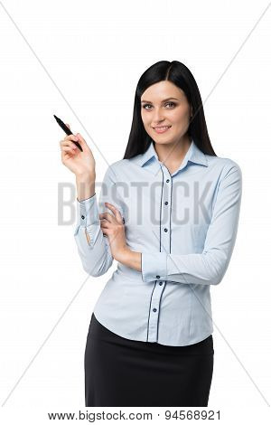 Portrait Of Smiling Woman Who Points Out Something By The Pen. Isolated.