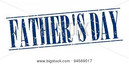 Father's Day Blue Grunge Vintage Stamp Isolated On White Background