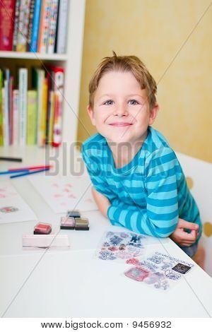 Schoolboy At Home