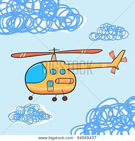 Helicopter In The Cloud Sky. Vintage Cartoon Helicopter. Vector Illustration.