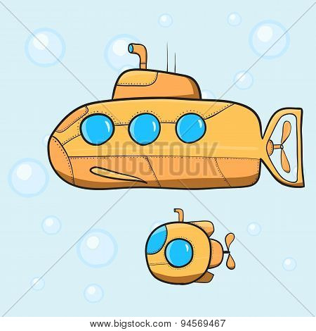 Vintage cartoon submarine.