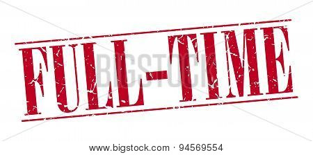 Full-time Red Grunge Vintage Stamp Isolated On White Background