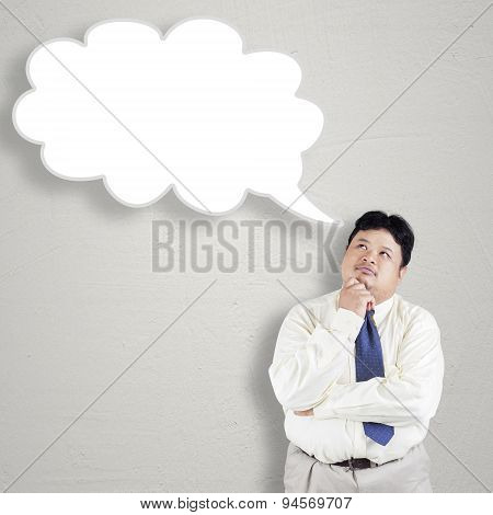 Pensive Overweight Person With Bubble Speech
