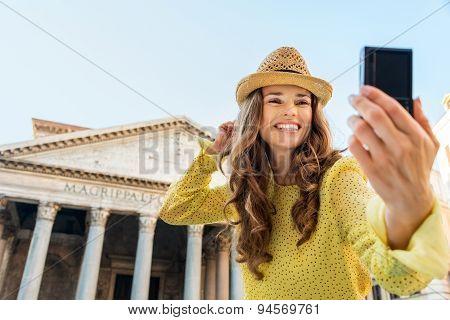 Closeup Of Woman Taking Selfie At Pantheon Cheering