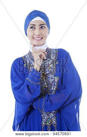 Pretty Muslim Woman Wearing Scarf Smiling