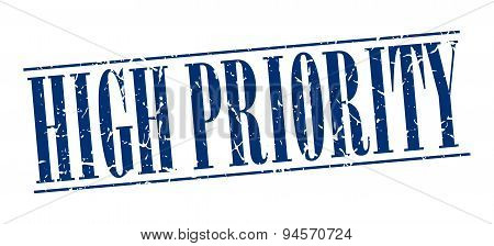 High Priority Blue Grunge Vintage Stamp Isolated On White Background