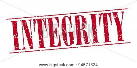 Integrity Red Grunge Vintage Stamp Isolated On White Background
