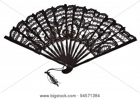 Black Lacy Fan Isolated On White Background